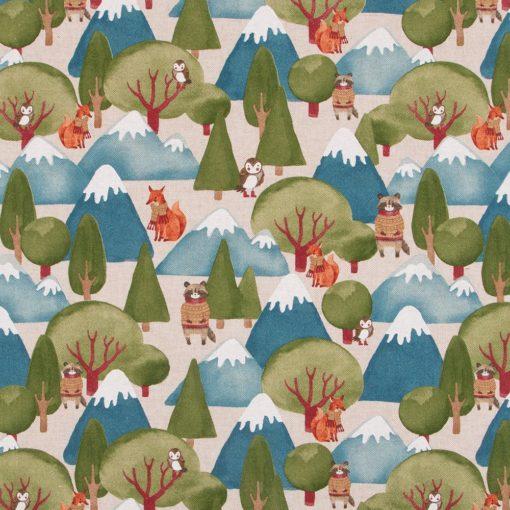 linnenlook Warmly Dressed stof met bosdieren 032 decoratiestof gordijnstof meubelstof printstof bosdieren 1.104530.1887.525