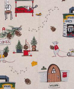 linnenlook Mice Holidays stof met muizen decoratiestof gordijnstof meubelstof printstof muizenstof Kerststoffen kopen, 1.104530.1888.555