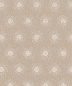 linnenlook printstof met zonnen decoratiestof gordijnstof 1.104530.1889.050