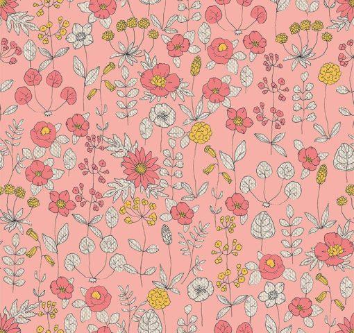 linnenlook Warm Flowers stof met bloemen bloemenstof printstof gordijnstof decoratiestof 1.104530.1893.350