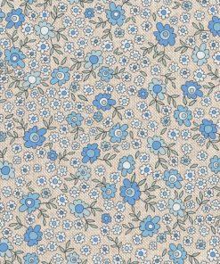 linnenlook Daisy Blue stof met bloemen bloemenstof printstof gordijnstof decoratiestof 1.104530.1894.460