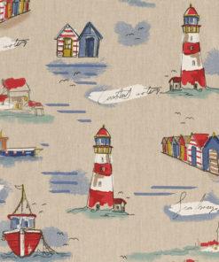 linnenlook Sea Shore Coast maritieme stof printstof met schepen decoratiestof gordijnstof 1.104530.1897.460