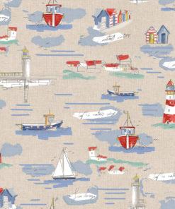 linnenlook printstof met schepen decoratiestof gordijnstof 1.104530.1897.460
