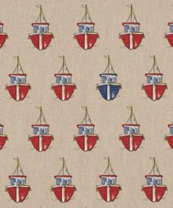 linnenlook printstof met boten decoratiestof gordijnstof 1.104530.1898.315