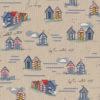 linnenlook Sea Shore Cabin strandhuisjesstof printstof met strandhuisjes decoratiestof gordijnstof 1.104530.1899.460