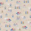 linnenlook printstof met strandhuisjes decoratiestof gordijnstof 1.104530.1899.460