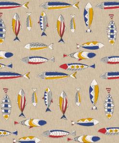 linnenlook printstof met vissen decoratiestof gordijnstof 1.104530.1900.655