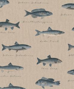 linnenlook dieren printstof stof met vissen decoratiestof gordijnstof 1.104530.1903.450