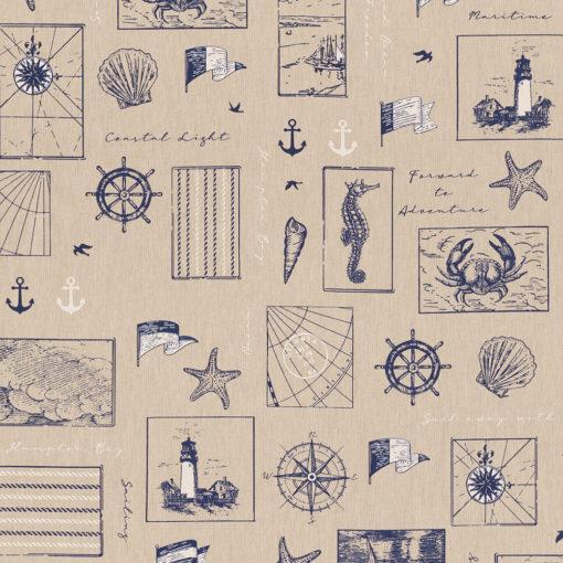 linnenlook Seaside Life maritime stof printstof met maritieme afbeeldingen decoratiestof gordijnstof 1.104530.1904.460