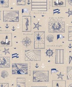 linnenlook printstof met maritieme afbeeldingen decoratiestof gordijnstof 1.104530.1904.460