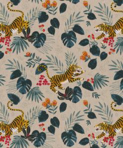 linnenlook printstof stof met dieren decoratiestof gordijnstof 1.104530.1905.545