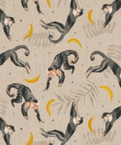 linnenlook stof met apen printstof decoratiestof gordijnstof 1.104530.1906.575