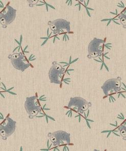 linnenlook Lazy Koala stof met koalabeertjes printstof decoratiestof gordijnstof 1.104530.1907.575