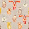 linnenlook stof met scandinavische bosdieren printstof decoratiestof gordijnstof 1.104530.1908.275