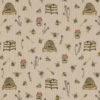 linnenlook stof met bijtjes printstof decoratiestof gordijnstof 1.104530.1910.220