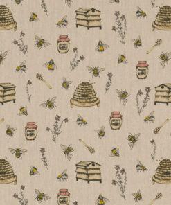 linnenlook Beehive stof met bijtjes printstof decoratiestof gordijnstof 1.104530.1910.220