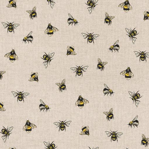 linnenlook stof met bijtjes printstof decoratiestof gordijnstof 1.104530.1911.220