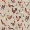 linnenlook stof met kippen en hanen printstof decoratiestof gordijnstof 1.104530.1912.175