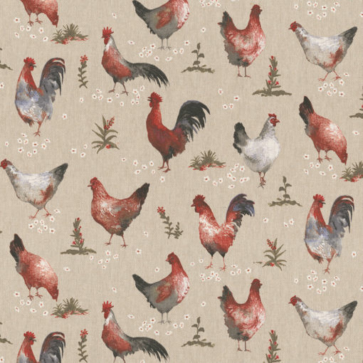 linnenlook Henhouse stof met kippen en hanen printstof decoratiestof gordijnstof 1.104530.1912.175