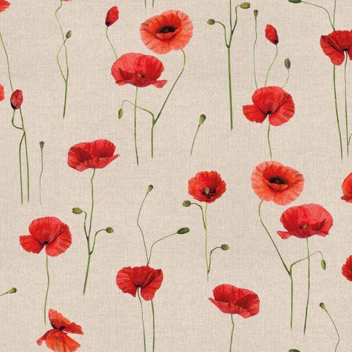 linnenlook stof met klaprozen printstof decoratiestof gordijnstof 1.104530.1913.310