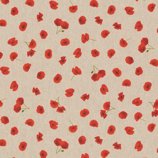 linnenlook stof met klaprozen printstof decoratiestof gordijnstof 1.104530.1914.310