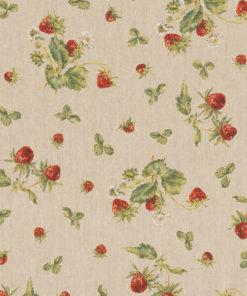 linnenlook printstof met aardbeien decoratiestof gordijnstof 1.104530.1916.315