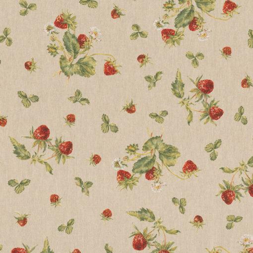 linnenlook Strawberries stof met aardbeien decoratiestof gordijnstof 1.104530.1916.315