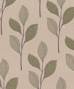 linnenlook printstof met bladmotief decoratiestof gordijnstof 1.104530.1917.535