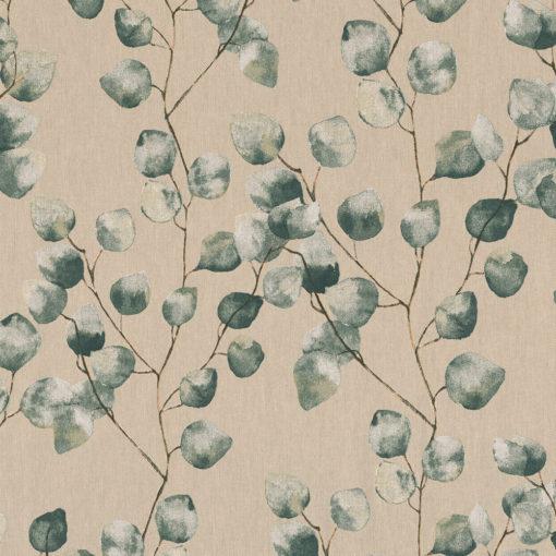 linnenlook Eucalyptus stof met eucalyptusblad printstof met bladmotief decoratiestof gordijnstof 1.104530.1918.525