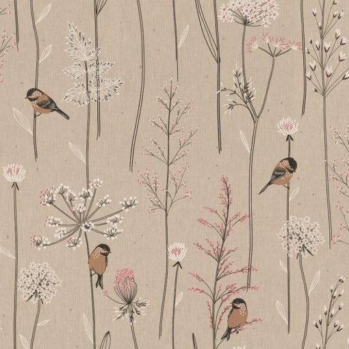 linnenlook Sparrows stof met vogels printstof decoratiestof gordijnstof 1.104530.1920.010