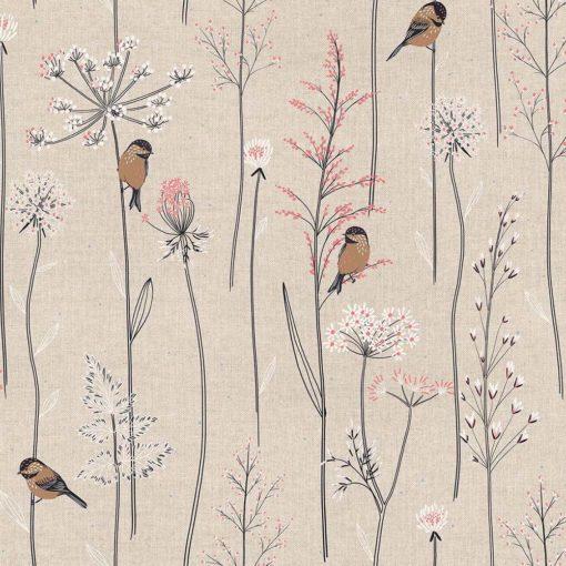 linnenlook stof met vogeltjes printstof decoratiestof gordijnstof 1.104530.1920.010