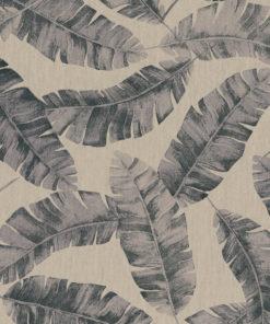 linnenlook Banana Grey stof met bladeren decoratiestof gordijnstof 1.104530.1926.650