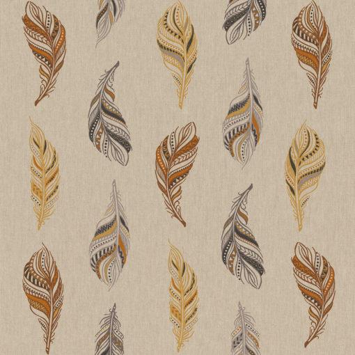 linnenlook printstof met veren decoratiestof gordijnstof 1.104530.1927.180