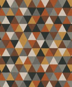 linnenlook Triangle Brown stof met driehoeken decoratiestof gordijnstof 1.104530.1929.180