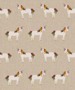 linnenlook unicorn stof met eenhoorns gordijnstof decoratiestof meubelstof 1.104530.1939.655