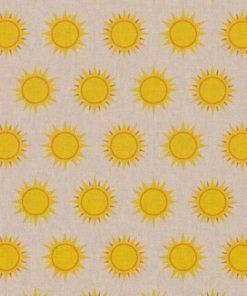 linnenlook Sunshine stof met zonnen decoratiestof gordijnstof printstof linnenlook