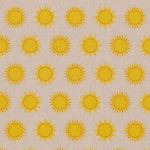linnenlook stof met zonnen Sun Symbol decoratiestof gordijnstof printstof linnenlook