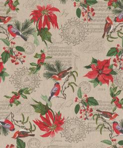 linnenlook kerststof 050 stof met kerstroos gordijnstof decoratiestof 1.104530.1944.315