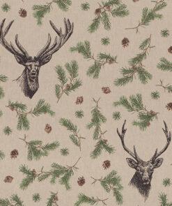 linnenlook kerststof 057 stof met rendierkop decoratiestof gordijnstof 1.104530.1946.180