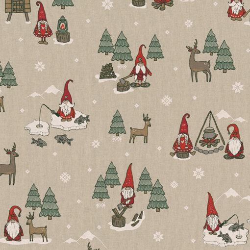 linnenlook kerststof 055 stof met kerstman decoratiestof gordijnstof 1.104530.1951.325