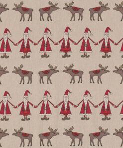 linnenlook kerststof 053 stof met kerstman en rendier decoratiestof gordijnstof 1.104530.1955.325