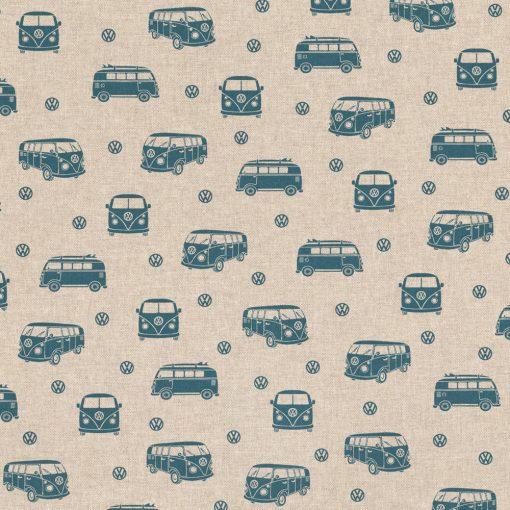 linnenlook VW Allover stof met VW busjes decoratiestof gordijnstof 1.104630.1011.485