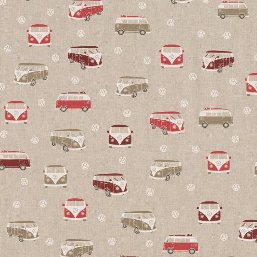 linnenlook VW Classic stof met VW busjes printstof decoratiestof gordijnstof 1.104630.1013.315