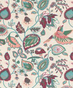 gordijnstof decoratiestof printstof met bloemen en vogels ottoman 1.105030.1729.110