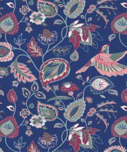 gordijnstof decoratiestof printstof met bloemen en vogels ottoman 1.105030.1730.470