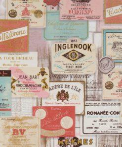 gordijnstof decoratiestof printstof wijnlabels ottoman 009 1.105030.1745.655