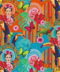 katoenen digitale Frida Kahlo printstof decoratiestof gordijnstof meubelstof1.151030.1360.655