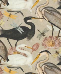 katoenen stof met reigers decoratiestof gordijnstof meubelstof 1.151030.1374.120