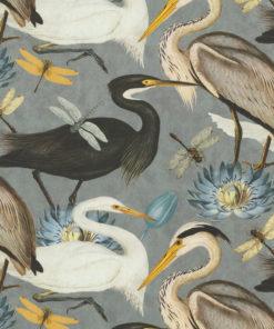 katoenen stof met reigers decoratiestof gordijnstof meubelstof 1.151030.1375.580