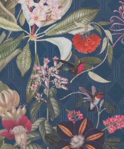 digitale printstof met vogels en bloemen katoenen decoratiestof gordijnstof meubelstof, 1.151030.1377.465